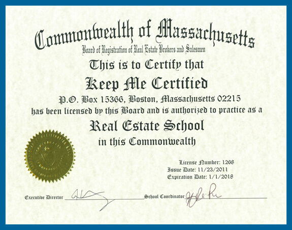 Real Estate School Certificate